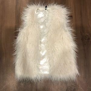 Cream Long Faux Fur Vest